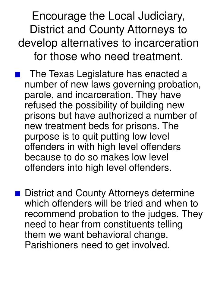 Encourage the Local Judiciary, District and County Attorneys to develop alternatives to incarceration for those who need treatment.