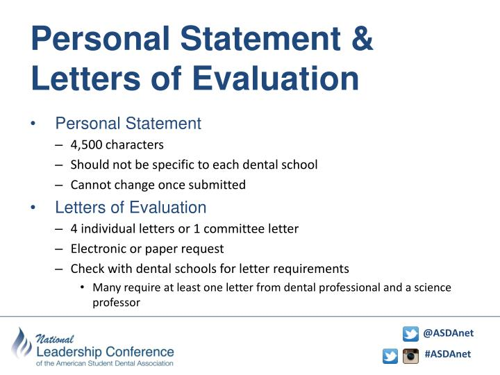 Personal Statement & Letters of Evaluation