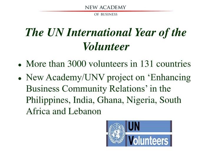 The UN International Year of the Volunteer