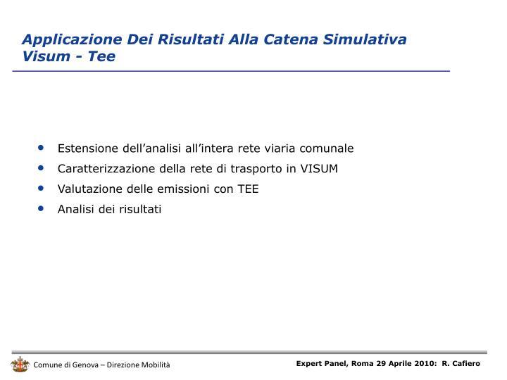 Applicazione Dei Risultati Alla Catena Simulativa Visum - Tee