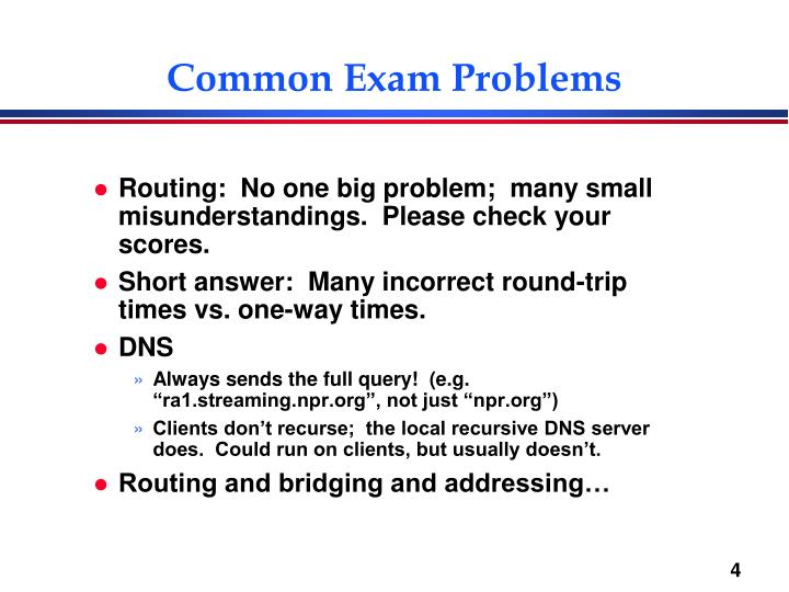 Common Exam Problems