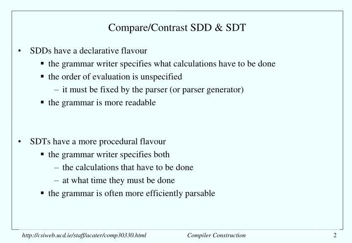 Compare/Contrast SDD & SDT