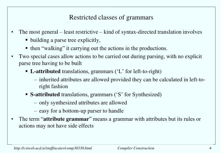 Restricted classes of grammars