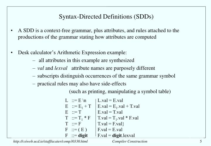 Syntax-Directed Definitions (SDDs)