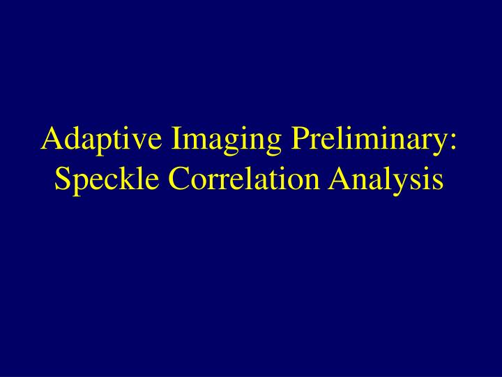 Adaptive imaging preliminary speckle correlation analysis