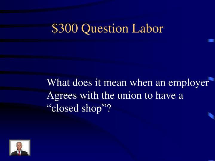 $300 Question Labor
