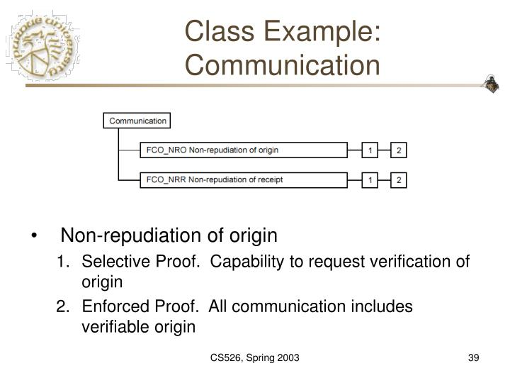 Class Example: