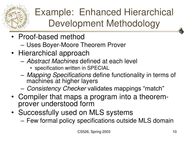Example:  Enhanced Hierarchical Development Methodology