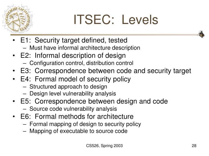 ITSEC:  Levels