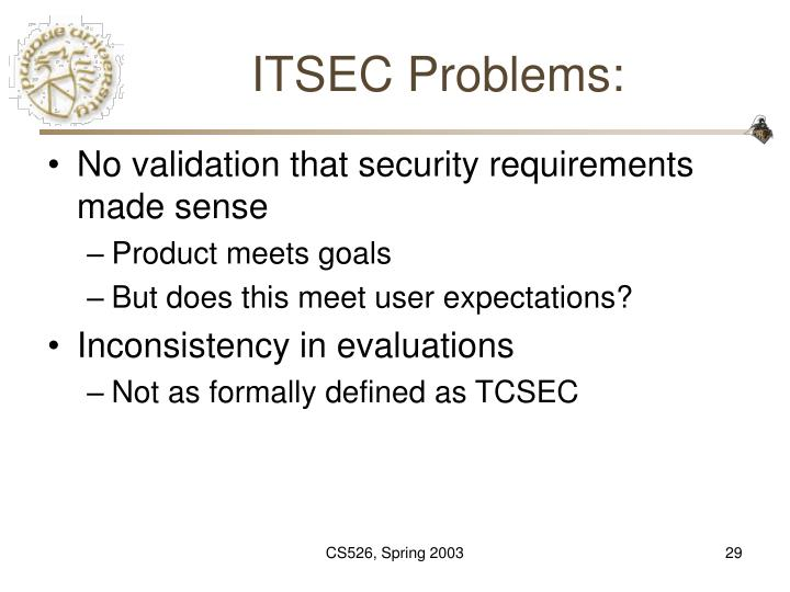ITSEC Problems: