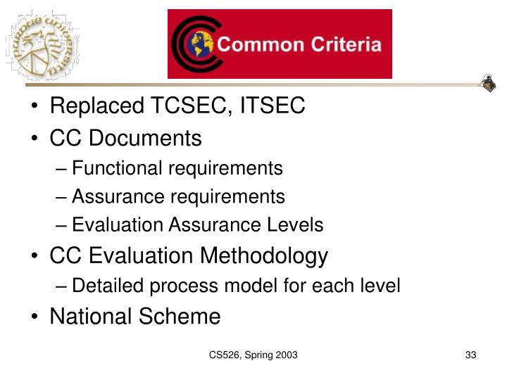 Replaced TCSEC, ITSEC