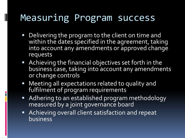 Measuring Program success