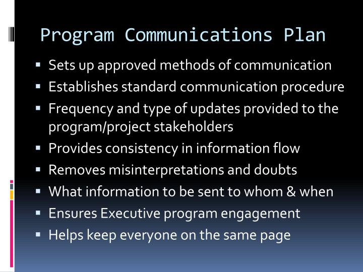Program Communications Plan