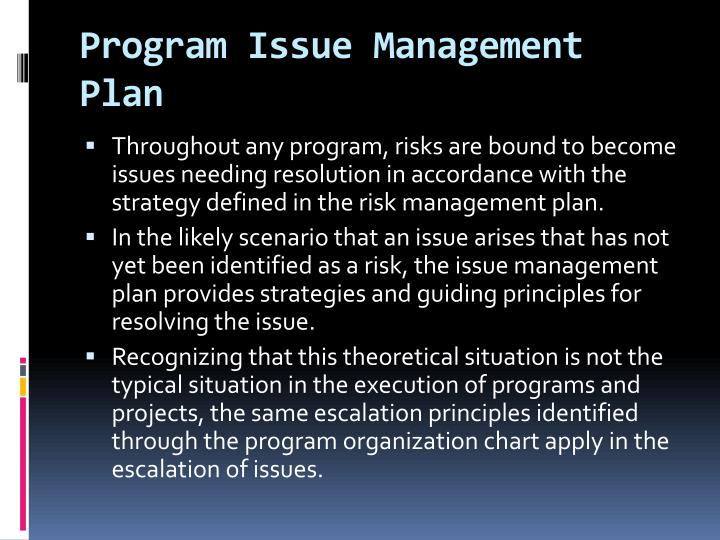 Program Issue Management Plan