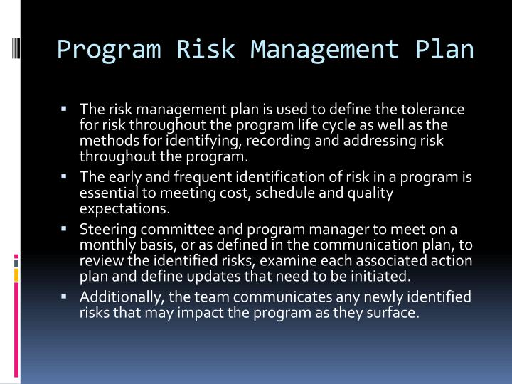 Program Risk Management Plan