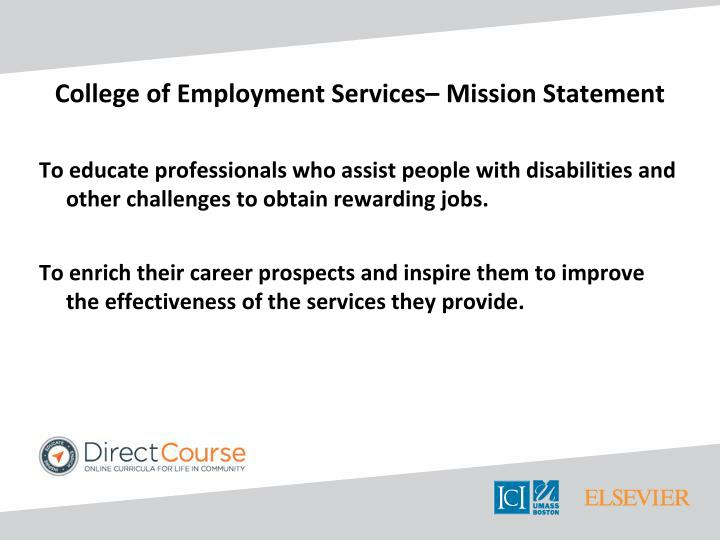 College of employment services mission statement