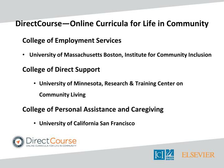 DirectCourse—Online Curricula for Life in Community