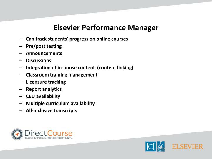 Elsevier Performance Manager