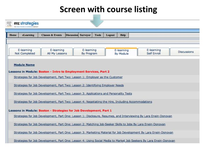 Screen with course listing