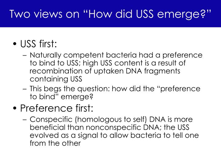 "Two views on ""How did USS emerge?"""