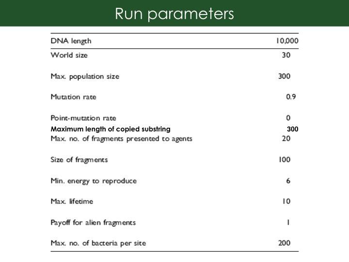 Run parameters