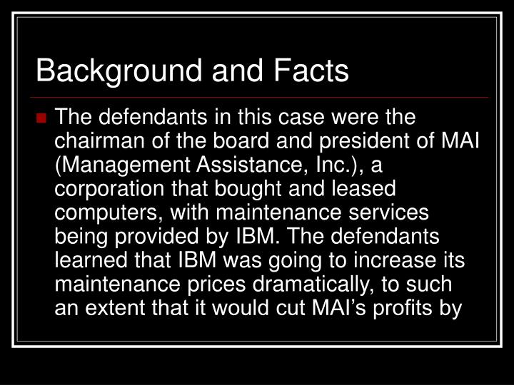 Background and Facts