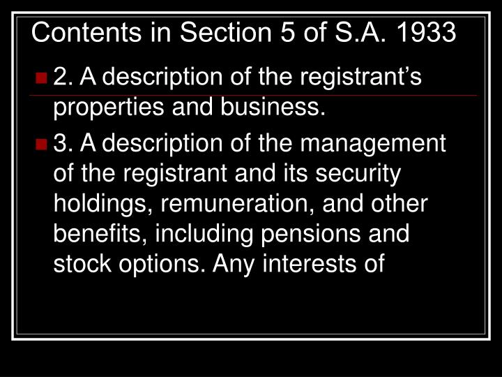 Contents in Section 5 of S.A. 1933