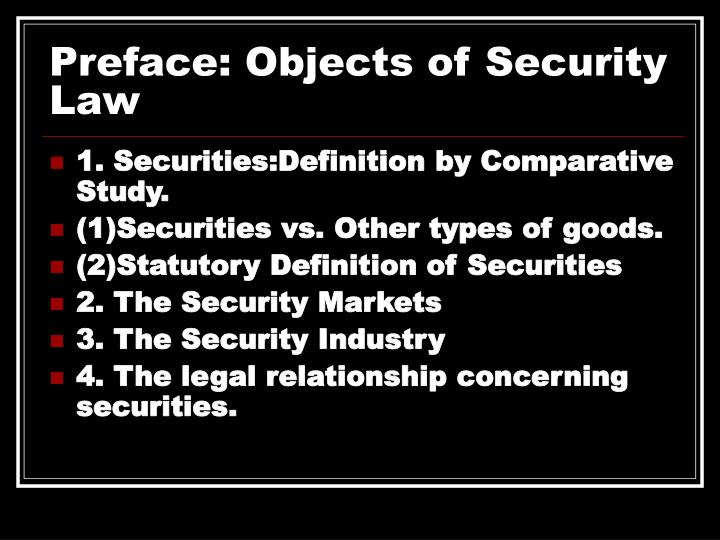 Preface: Objects of Security Law