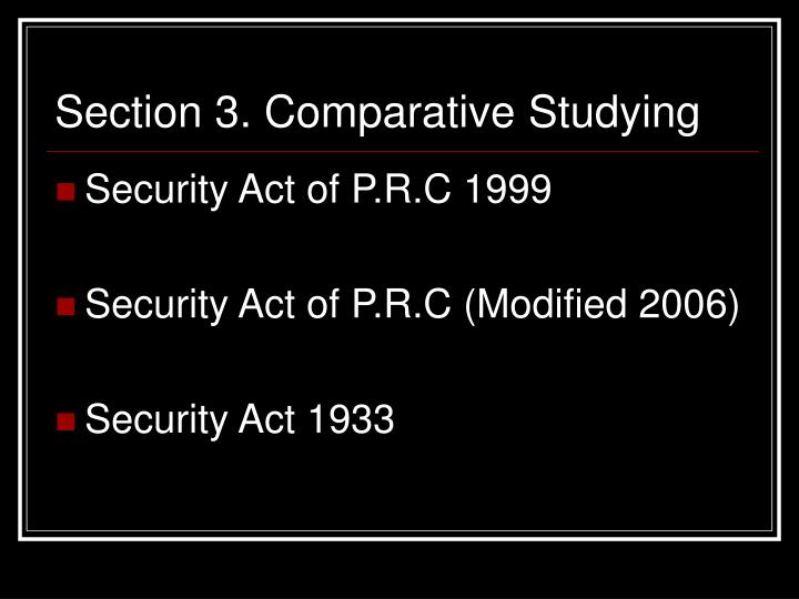 Section 3. Comparative Studying
