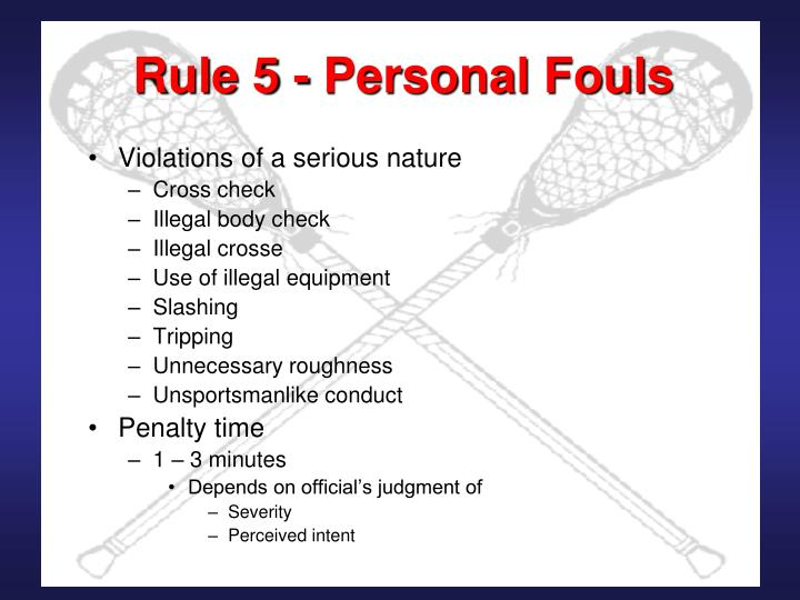 Rule 5 personal fouls