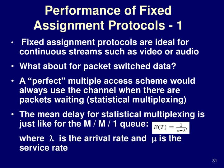Performance of Fixed Assignment Protocols - 1