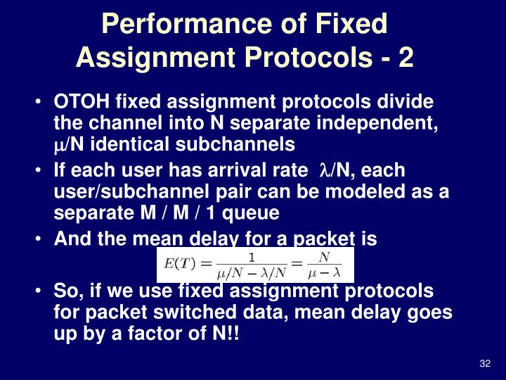 Performance of Fixed Assignment Protocols - 2