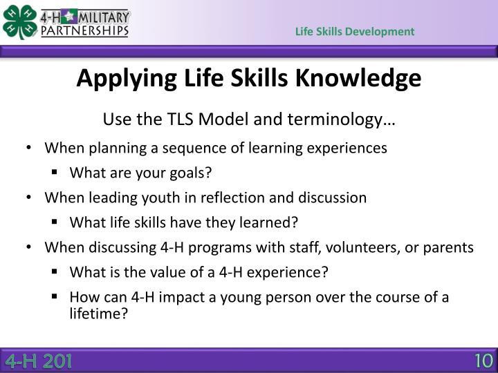 Applying Life Skills Knowledge