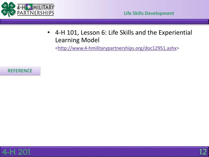 4-H 101, Lesson 6: Life Skills and the Experiential Learning Model