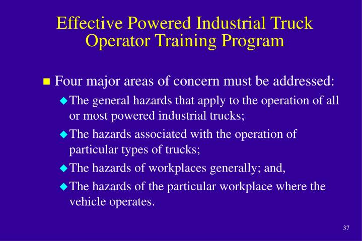 Effective Powered Industrial Truck Operator Training Program