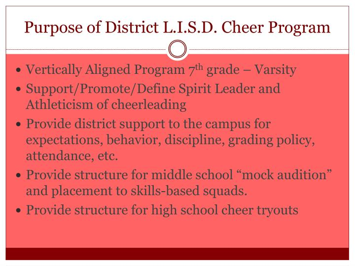 Purpose of District L.I.S.D. Cheer Program
