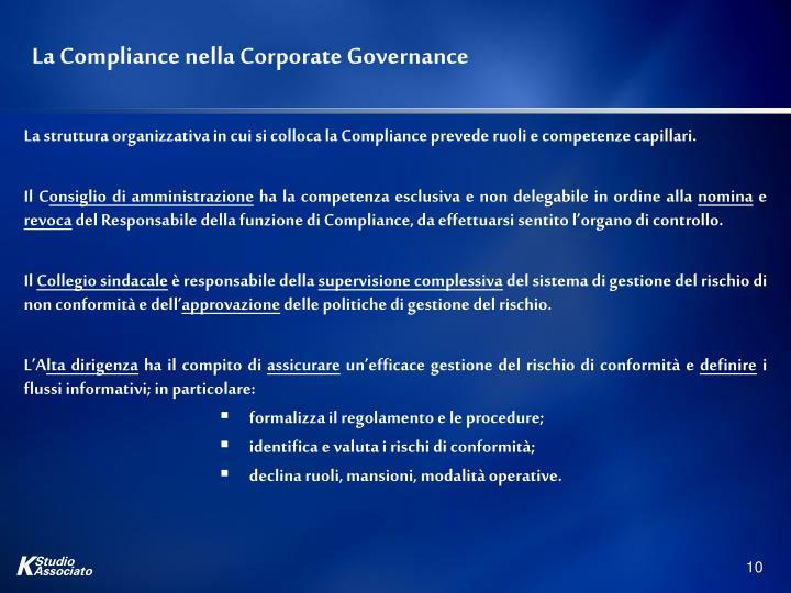 La Compliance nella Corporate Governance