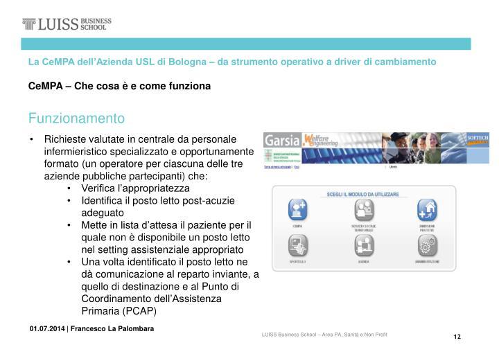 La CeMPA dell'Azienda USL di Bologna – da strumento operativo a driver di cambiamento