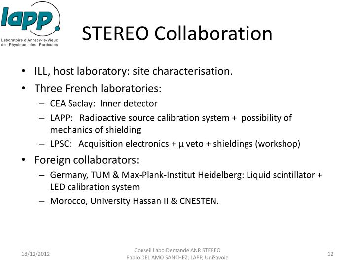 STEREO Collaboration