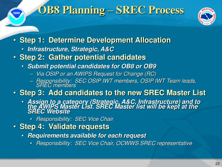 OB8 Planning – SREC Process