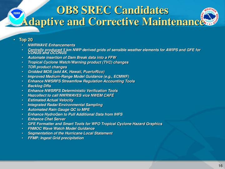 OB8 SREC Candidates