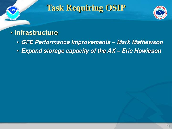 Task Requiring OSIP
