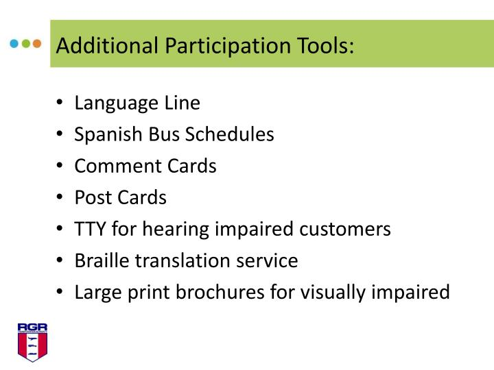Additional Participation Tools:
