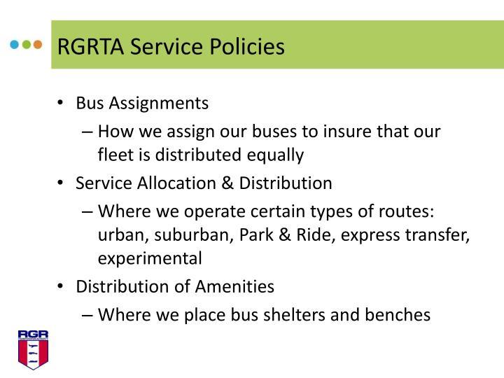 RGRTA Service Policies