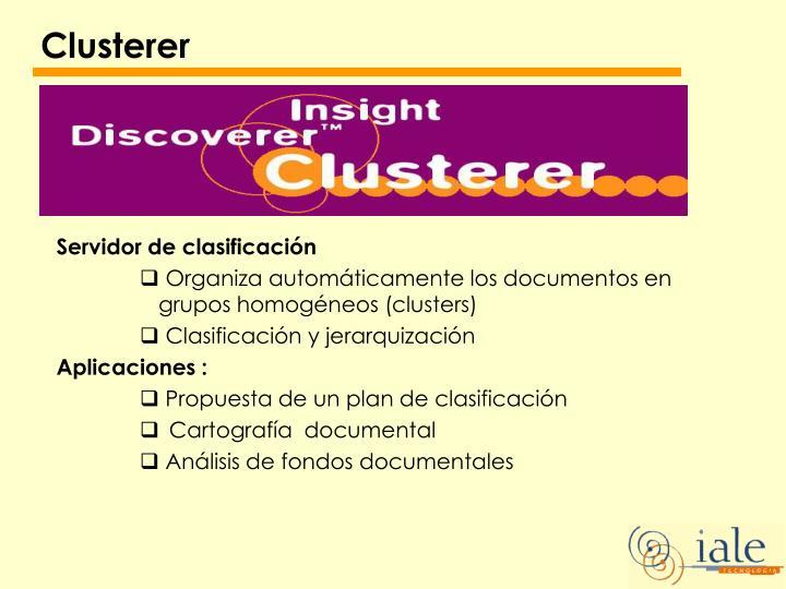 Clusterer