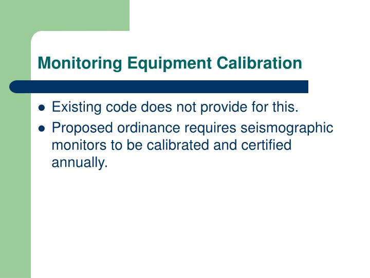 Monitoring Equipment Calibration