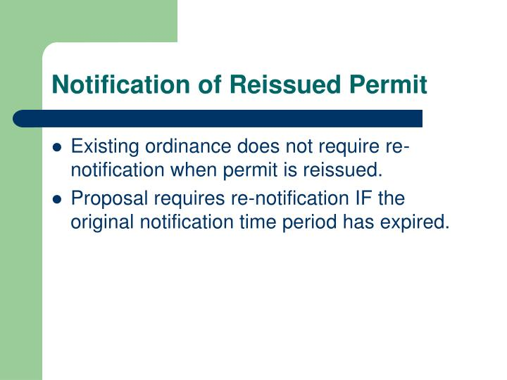 Notification of reissued permit