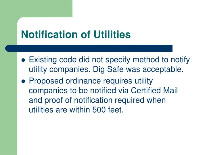 Notification of Utilities