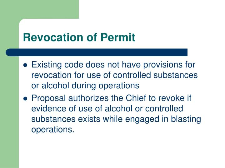 Revocation of permit