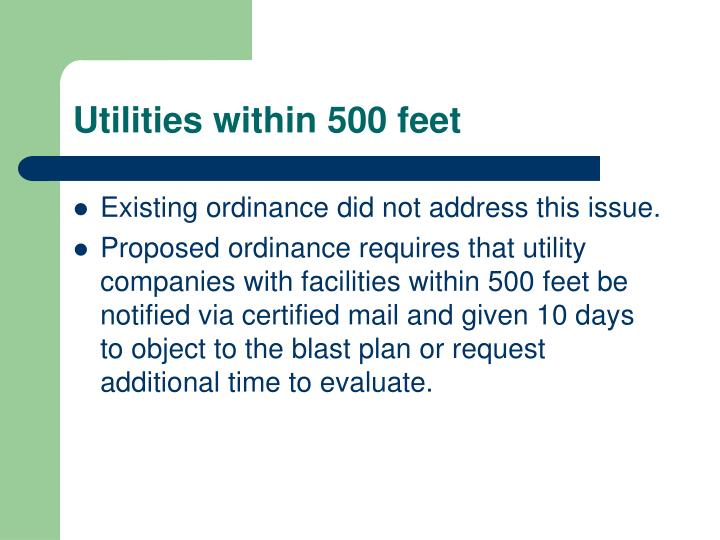 Utilities within 500 feet